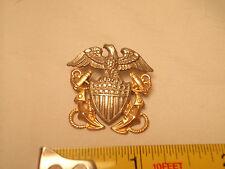 WW2  US Navy Sterling Silver Officer Hat Badge GEMSCO 1/20 10K Gold Filled Large