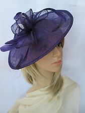 NEW PURPLE(violet) SINAMAY & FEATHER FASCINATOR HAT.Shaped saucer disc,Wedding.