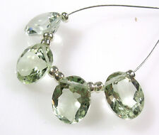 AAA NATURAL GREEN AMETHYST FACETED OVAL SOLITAIRE BEADS 8.5 mm  J14