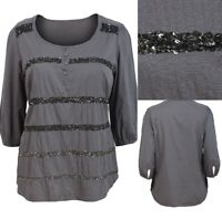 Evans Size 14,16,18,22 Grey Cotton 3/4 Sleeve Sequin Front Top Tunic Blouse