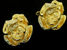 E047 Detailed Genuine 9ct SOLID Yellow Gold NATURAL Diamond ROSE Stud Earrings