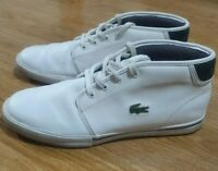 LACOSTE Leather Hi Top Shoes Lace Up Trainers Mens White Size UK 8 EU 42