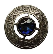 "Men's Celtico Spilla Fly Plaid Blue Stone SILVER finitura anticata 3""/Kilt Fly Plaid"
