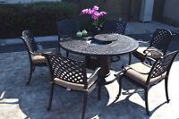 Propane fire pit table 7 pc Nassau patio dining set outdoor aluminum grills.