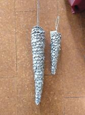 Coppia Pigne Ornamento argentate per albero o finestra