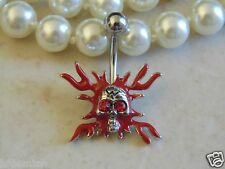 Skull Navel/Belly Ring with Flame.