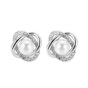 Elegante Ohrstecker für Frauen 925 Silver Pearl Hochzeitsschmuck Geschenk B4K0