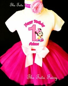Baby Minnie Mouse Hot Pink 1st First Baby Girl Birthday Tutu Outfit set
