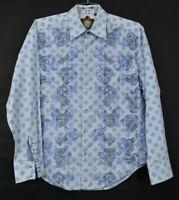 Robert Graham Men's Large Long Sleeve Button Up Flip Cuff Dress Shirt Blue