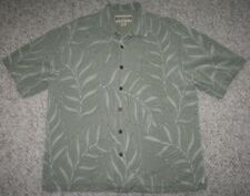 Large Jamaica Jaxx Green Silk Men's Hawaiian Dress Shirt Top Short Sleeve Man