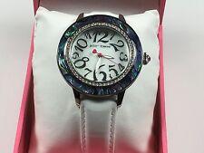 Betsey Johnson Watch Women's White Leather Strap BJ00576-01 Abalone Shell Bezel