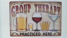 Group Therapy Practiced Here Bar Decor Tin Metal Sign Wine Martini