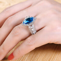 2Ct Marquise Cut Blue Topaz Halo Engagement Wedding Ring Solid 14K White Gold Gp