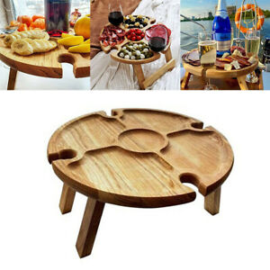 Folding Outdoor Garden Picnic Table With Glass Holder Wooden Wine Glass Rack
