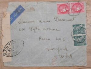 Mayfaristamps France 1940 Censored Airmail to US New York Cover wwp10519