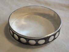 Bangle Bracelet Silver Tone Texutred Black Enamel Raised Dots Sign Wrangler WOW
