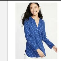 Womens Small Old Navy Long Sleeve Polka Dot Button Down Tunic V Neck Top Blue