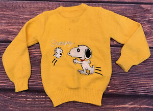 VTG 1970's Handmade Snoopy & Woodstock Sweater Youth Kids S/M Yellow Embroidered
