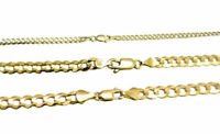"""Solid 14k Yellow Gold 3MM-5MM Curb Chain Cuban Link Necklace 16""""-30"""""""
