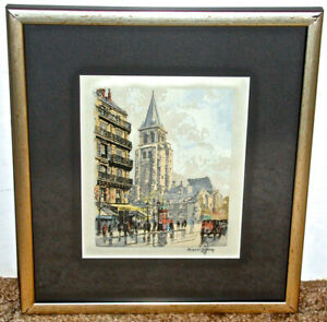 Hans Figura European Street Scene Signed Color Etching (I)