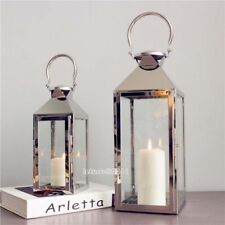 Set of 2 Modern Silver Stainless Steel Lantern Glass Panel Wind- Coastal Chic