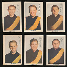 1950 Kornies Richmond Team Set Roy Wright Tigers 6 cards A New Series of 64