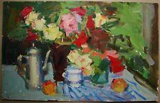 Russian Ukrainian Oil Painting Impressionism fauvism Still Life flowers rose