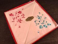 Pair Of Vintage New In Box Pink & Blue Floral Embroidery Ladies' Hankies