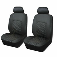 Universal Black Car PU Leather Seat Covers Front Pair Cushions Protectors