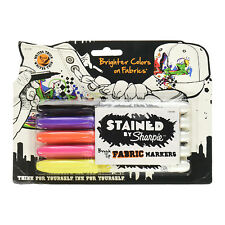 Sharpie Stained Fabric Markers, Brush Tip, Assorted Fashion Colors, 5-Count