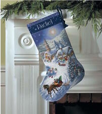 Dimensions 8712 Gold Collection Sleigh Ride At Dusk Stocking Counted Cross Kit