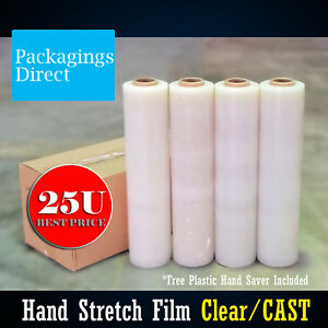 4x Stretch Wrap Film  500mm x 400m - Clear 25U Pallet Carton Hand Saver Included
