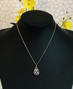 "925 Sterling Silver Teardrop Filigree Pendant Necklace 16"" Chain  (D6R4)"