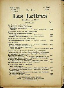 🌓 [revue] Les Lettres n°4 1er avril 1922 Bernoville Gheon Fumet Legendre
