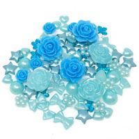 80 Mix Blue Shabby Chic Resin Flatbacks Craft Cardmaking Embellishments