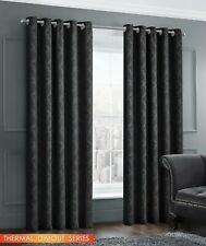 Thermal Woven Dimout Damask Curtain Pair Readymade Eyelet / Ring Top Black