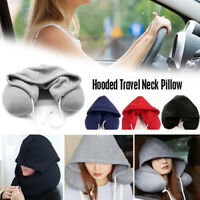 Travel Hooded Pillow Cushion Car Airplane Head Rest Neck Support U-Shaped US dgn