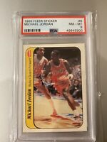 1986 Fleer Michael Jordan Sticker #8 Rookie Card RC PSA 8 NM Mint
