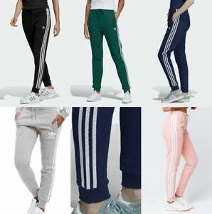 Adidas Originals Women's Trefoil Three Stripe Cuffed Track Pants Trousers