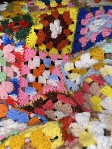 Vintage handmade Granny Squares Crochet Afghan Throw Blanket MultiColor 56 x 72