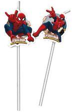 Marvel Ultimate Spider-Man Niños Fiesta Cumpleaños Pajitas - Paquete de 6