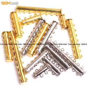 Clasp Tube Gold-plated Jewelry Making Clasp 2-8 Rings Yellow/Silver