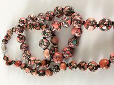 Yvesse Mosaikachat Collier rosa-schwarz-beig  gesprenkel 45 cm  925er rhod. Neu