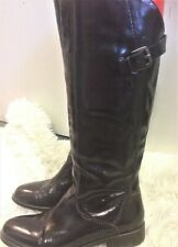 M&S AUTOGRAPH DEEP PURPLE PATENT LEATHER KNEE HIGH FLST BOOTS SIZE UK 5.5 EU 39