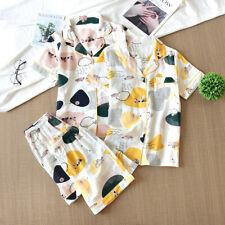 2pcs Gauze Cotton Pajamas Set Women Floral Sleepwear Ladies Nightgown Homewear