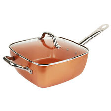 Copper Square Pan,Induction base Frying Pan 4 Piece Set With Lid Deep Square