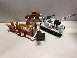 Vintage Mega Bloks Army Tank X Dash 05522 White Blue Snow with Ruins 5 guys