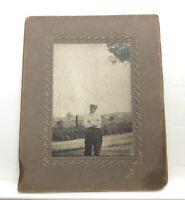 Antique Cabinet Photo Older Man w/ Straw Hat 1910s - BT Dutton
