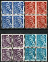 FRANCE 1942 Type MERCURE Blocs de 4 YT n° 546 à 549 Neufs ★★ luxe / MNH