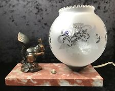 French Art Deco Marble Mood Lamp With Copper Squirrel